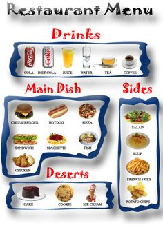 Kids Printable restaurant menu - pretend role play---Have to cut and paste to print this----FREE Preschool Restaurant, Restaurant Themes, Menu Restaurant, The Menu, Kids Restaurants, Pizza Chef, Creamed Potatoes, Chefs, Chocolate Caliente