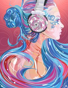 M10-Vector Illustration, digital portraits of people in beautiful, organic vector illustrations that they could print or have painted. Everything here is so free-flowing, but the main subject is clearly seen. I especially love the details on her face, that is balanced by the abstract hair piece. Stunning and highlighted by the right colors.