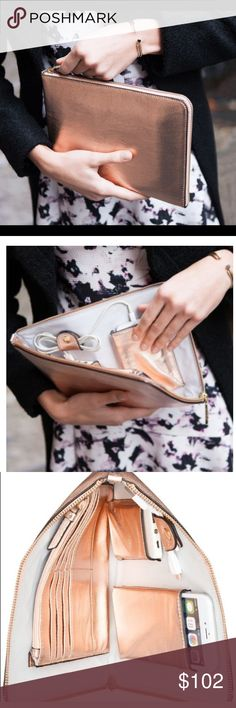 Ivanka Trump Purse Tech Clutch with Power Bank NEW ✅MAKE A OFFER-just priced higher2avoid super low offers &2pricedrop2Dscnt s&h✅Ivanka Trump Purse /Tech Clutch wPower Bank NEW-Rio Sleeve in a Rose Gold Color-1st 3 pics are stock photos2demonstrate functionalityall other photos are actual product NEW IN BOX, AUTH, retailvalue $101.50also silver in sep listing❌there is no white coloring in the purse❌✅will fit iPhone 6+7+ as in pic, standard ipad is same size so a lil too big⭐️⭐️bag…