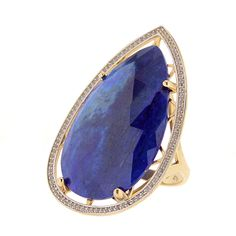 Gold ring with lapislazuli and diamonds // anillo de oro con lapislázuli y diamantes. www.art-jeweller.com