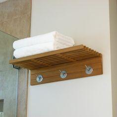 Wall Mounted Teak Shelf Coat & Towel Rack - Westminster Teak Outdoor Furniture