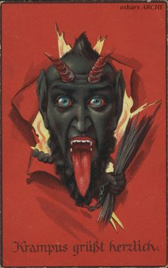 weirdchristmas: vintagegal: Krampus is the. Dark Christmas, Merry Christmas, Krampus Legend, Christmas Traditions In Germany, Satan, World Mythology, Quirky Art, Occult Art, Masks Art