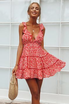 Country Lines Dress Red