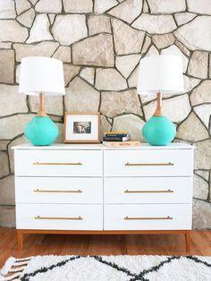Learn how to turn an IKEA Tarva dresser into a mid century modern dresser. DIY steps included. Ikea Hack, Ikea Tarva Hack, Midcentury modern dresser DIY