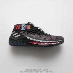 info for 0befa 2c4e1 Ap9978 Original Bape X Adidas Dame 4 Lillard 4 Bape Shark Basket Sneaker