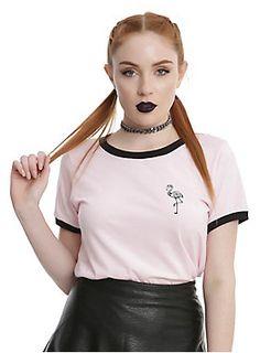 Flamingorgeous // Skeleton Flamingo Girls Ringer T-Shirt