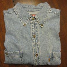 Vintage Levis Denim Shirt Blue Work Shirt Western Mens L Pockets LS Signature  #Levis #ButtonFront