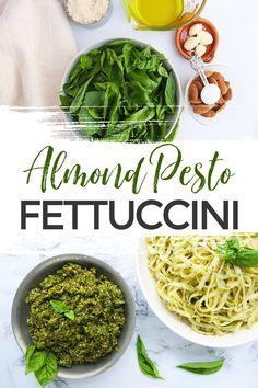 Make the best almond pesto fettuccini in under 20 minutes and enjoy a deliciously fresh meal packed with flavour! #Pesto #HomemadePesto #PestoRecipe #Pasta #Italian #ItalianRecipe #WhatsForDinner #PastaRecipe #TheBestPesto #TheBestPestoRecipe #DinnerRecipe #EasyDinner #DinnerIdeas #MealPlanning via @xtremecouponmom Yummy Pasta Recipes, Chicken Pasta Recipes, Top Recipes, Dinner Recipes, Yummy Food, Homemade Pesto, Extreme Couponing, Pesto Recipe, Yummy Recipes