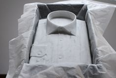 Shirt 2. Marble sculpture by Alasdair Thomson
