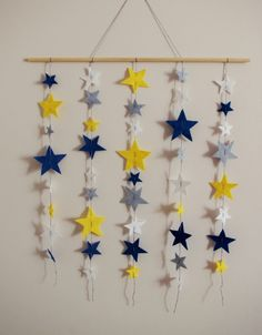 Felt Star Cot Mobile, Baby Nursery, Bedroom, Wall Hanging, Blue Yellow Grey White, Baby's Crib, Wall Art by FeltTails on Etsy https://www.etsy.com/listing/256107324/felt-star-cot-mobile-baby-nursery