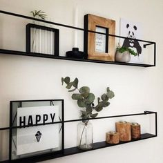 Cool boards of woood meert! # Living room, interior, black steel wall shelf Living Room Decoration how to decorate a living room Beige Living Rooms, Living Room Interior, Room Wall Decor, Bedroom Decor, Bookshelves In Bedroom, Steel Wall, Home Design, Wall Shelves, Display Shelves