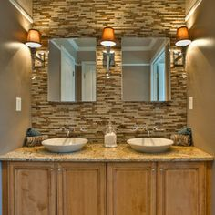 #Traditional master #bathroom design by Apple Wood Construction, Inc. with a double sink #vanity from Dura Supreme #Cabinetry
