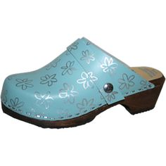Turquoise Clogs with Silver Flowers, Snap Strap with your choice of Strap, Tessa Clog