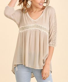 Take a look at this UMGEE U.S.A. Natural Lace-Accent V-Neck Top today!