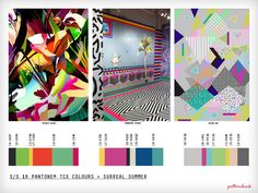 Spring/Summer 2016 Print Trend Report Part 2 trend forecasts print pattern _Surreal Summer Summer 2016 Trends, Spring Summer 2016, Trend Board, Stock Design, Fashion Design Inspiration, Pattern Bank, Illustrator, Crazy Colour, Summer Colors