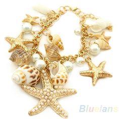 Oceano estilo Multi Starfish Sea Star Conch Shell pérola cadeia praia Bracelet Bangle novidade venda quente 1GA3 em Pulseira com pingentes de Jóias no AliExpress.com | Alibaba Group