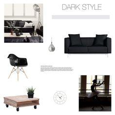 """Living Room   Dark Style"" by simplyskie ❤ liked on Polyvore featuring interior, interiors, interior design, hogar, home decor, interior decorating, Matthew Hilton, Zuo, Alöe y living room"