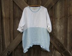 linen top in white and light blue ready to ship by linenclothing Tunics, Blouses, Refashioned Clothes, Boho Style, My Style, Linen Apron, Aprons, My Wardrobe, Boho Fashion