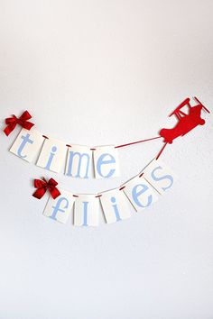 """Time Flies, Ivan is turning Five"" So cute! This Time Flies birthday banner is the perfect accessory to celebrate your child's first birthday. This cute and high quality decoration is a sweet reminder of the passing of time. Planes Birthday, Planes Party, Boy First Birthday, 3rd Birthday Parties, Birthday Fun, Birthday Banners, Airplane Birthday Parties, Paper Airplane Party, Airplane Banner"