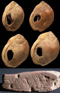 The Prehistory of Homo Sapiens - Part III; Articles found at Blombos Cave, including shells pierced to be strung together into chains, ochre with geometric patterns; 77,000 B.C.E