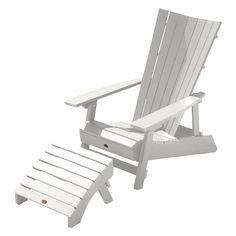 Manhattan Beach Adirondack Chair with Wine Glass Holder and Folding Adirondack Ottoman White - Highwood Beach Chairs, Patio Chairs, Outdoor Chairs, Outdoor Furniture, Indoor Outdoor, Outdoor Decor, Adirondack Chairs, Chair And Ottoman Set, Wine Glass Holder