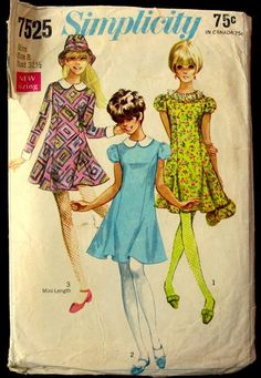 Items similar to Vintage Simplicity Pattern, Juniors' and Misses' Dress in Two Lengths, Hat and Detachable Collar and Cuffs, 1968 on Etsy Simplicity Sewing Patterns, Vintage Sewing Patterns, Trumpet Skirt, Detachable Collar, Miss Dress, Collar And Cuff, Princess Seam, Junior Dresses, Vintage Children