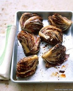 Roasted Radicchio Recipe. I've made this and combined with whole wheat pasta, lemon juice, olive oil and breadcrumbs. It's a keeper.