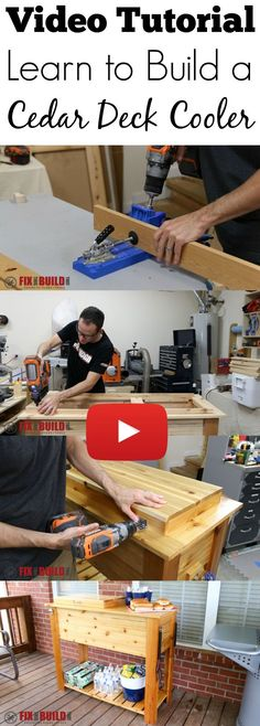 Outdoor DIY Projects : Full video build tutorial on how to build a Cedar Deck Cooler. This ice box will look great on your patio and even has space for your grill cart storage items. Deck Cooler, Wood Cooler, Cooler Stand, Outdoor Cooler, Pallet Cooler, Cooler Cart, Cooler Box, Pallet Patio Decks, Decking