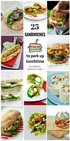 Lunchtimes can be a bit boring. It's so easy to get in a rut and eat the same egg mayo or cheese and pickle sandwich every day, but lunchtime don't need to be like that with these sandwich ideas. Vegetarian and vegan sandwich recipes for tasty lunchtimes. Get your lunch on!
