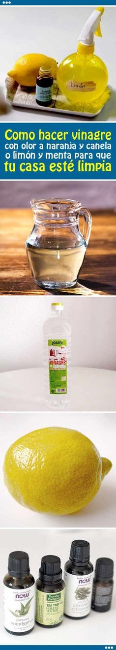 How to make vinegar with the smell of orange and cinnamon or lemon and mint so that your house is clean and smells perfectly - Home Cleaning How To Make Vinegar, Limpieza Natural, Insecticide, Power Clean, Natural Cleaners, How To Clean Iron, Green Cleaning, Natural Cleaning Products, Home Hacks