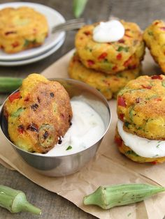 This vegetarian entree - Okra Cornmeal Cakes with Cilantro Lime Yogurt Dip - combines fresh flavors with a tangy, tart sauce made with Cabot Greek-Style Yogurt. Veggie Dishes, Vegetable Recipes, Vegetarian Recipes, Side Dishes, Cooking Recipes, Healthy Recipes, Veggie Food, Cooking Tips, Smoker Recipes