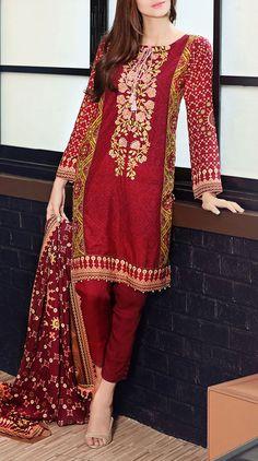 Buy Maroon Embroidered Pali Salwar Kameez by GulAhmed 2015 www.pakrobe.com  Call:(702) 751-3523 Email: Info@PakRobe.com https://www.pakrobe.com/Women/Clothing/Buy-Winter-Salwar-Kameez-Online #WINTER #SALWAR #KAMEEZ