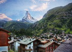 While taking the train up a nearby mountain in the town of Zermatt, there is one quick moment when you get this perfect view of the village and the Matterhorn together.  I think I really liked this place because I remember riding the Matterhorn with my dad when I was a kid, and my child-mind could not conceive of an actual Matterhorn! - ZERMATT, SWITZERLAND - photo from #treyratcliff Trey Ratcliff at http://www.StuckInCustoms.com