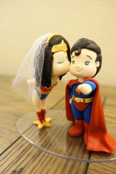Cute mini Wonder Woman and Superman Wedding Cake Topper