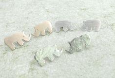 Sterling/Rose Copper Little Rhino earrings by Artistic925Jewellery
