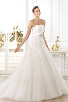 Marvelous Strapless A Line Wedding Dresses With Applique And Sash Ivory Online Sale