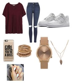 """""""air force"""" by fashion-1407 ❤ liked on Polyvore featuring Zara, Topshop, NIKE, Casetify and Chan Luu"""