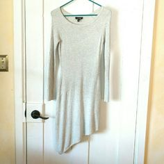 Bebe asymmetrical sweater dress xs-s Grey sweater dress, figure flattering, stretchs good, will fit small too,  only worn 2 times, very comfortable and soft. bebe Dresses Asymmetrical