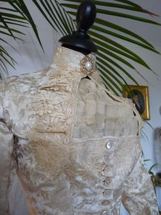 1880's bustle wedding gown, detail