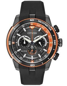 Citizen Mens Ecosphere Chrono- Black IP Case - Orange Accents - Tachymeter