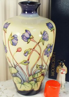 "Moorcroft 12"" vase Ashwood Hepatica 72/12 signed Emma Bossons"