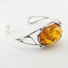Amber Gemstone, Amber Bracelet, Baltic Amber, Sterling Silver Bracelets, Vines, Leaves, Warm, Gemstones, Handmade