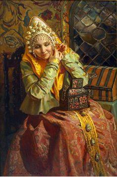 Russian Beauty, Russian Fashion, Russian Art, Asian Hair Ornaments, Drawing Hair Tutorial, Imperial Fashion, Cartoon Hair, Russian Painting, Traditional Fashion