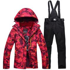 Women Snow Costumes outdoor sports ski suit sets snowboarding clothing -30 winter  waterproof Camouflage dress d436e9d59