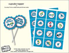 Smurfs Birthday Party Favor Tags PRINTABLE DIY  by MetroEvents, $4.98