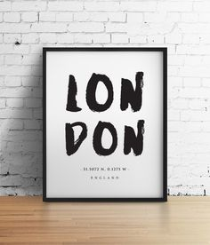 Typographic Print London Poster Black and by CloudWalkerStudios