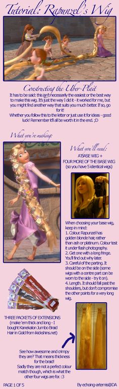 Rapunzel Wig Tutorial - click to see the rest   I must do this!