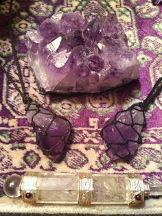 Cord Wrapped Healing Crystal Necklace Amethyst by LonelyMoonChild, $30.00