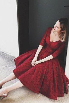 Short Prom Dresses #ShortPromDresses, Prom Dresses Lace #PromDressesLace, Burgundy Prom Dresses #BurgundyPromDresses