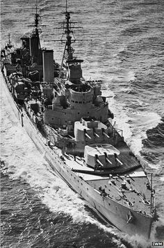 HMS Belfast in 1950 - a veteran of the Battle of the North Cape in which the German battleship Scharnhorst was sunk in 1943, she is now preserved in London.